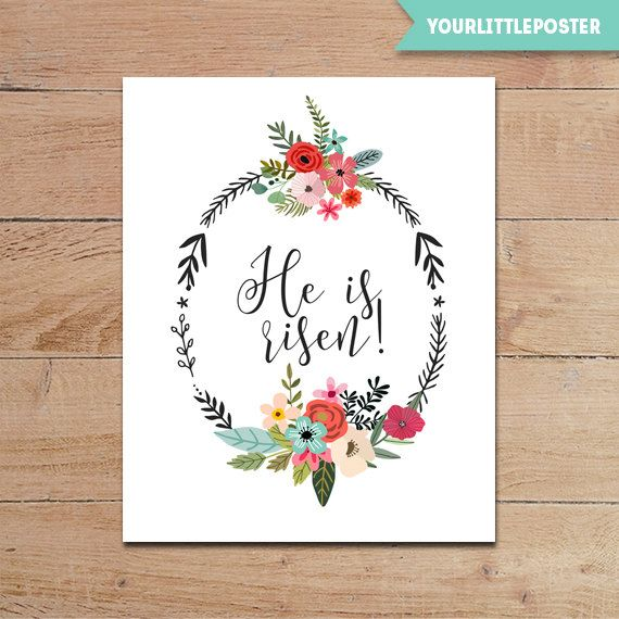 graphic relating to He is Risen Printable identified as He is risen - printable Easter decor with floral wreath and