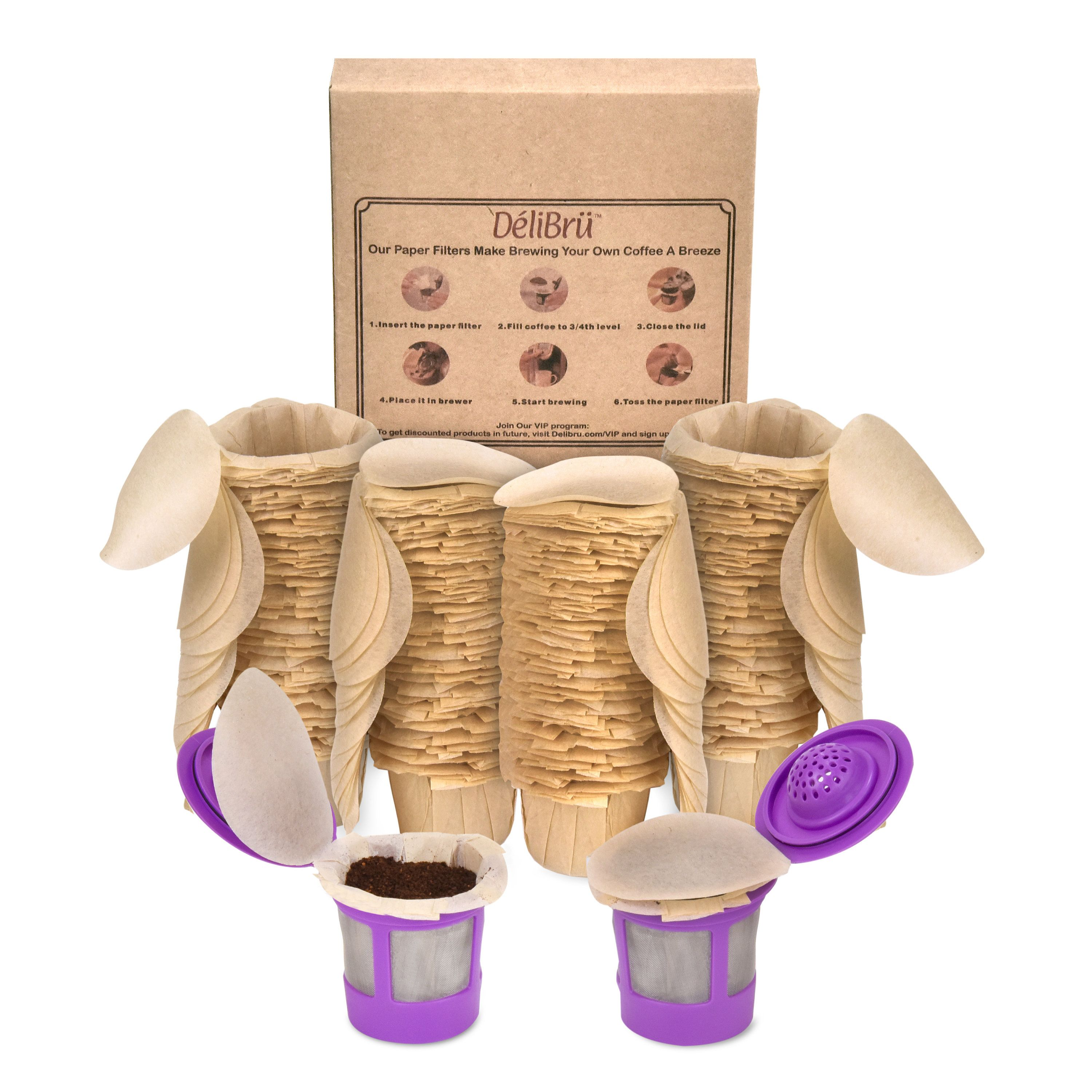 Delilbru unbleached paper filters for reusable k cups