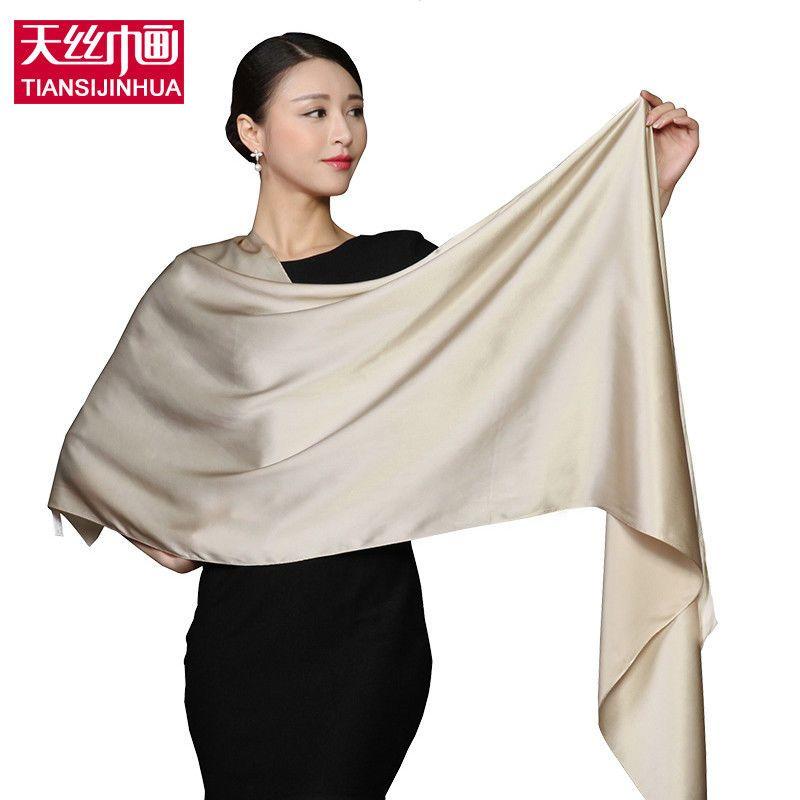9e53fc7ec 100% Silk Rectangle Scarves Women Silk Scarf Luxury Brand Scarf Shawl Satin  Scar Muslim Hijab