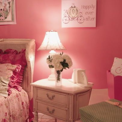 Pink Romantic French Country Girlu0027s Bedroom