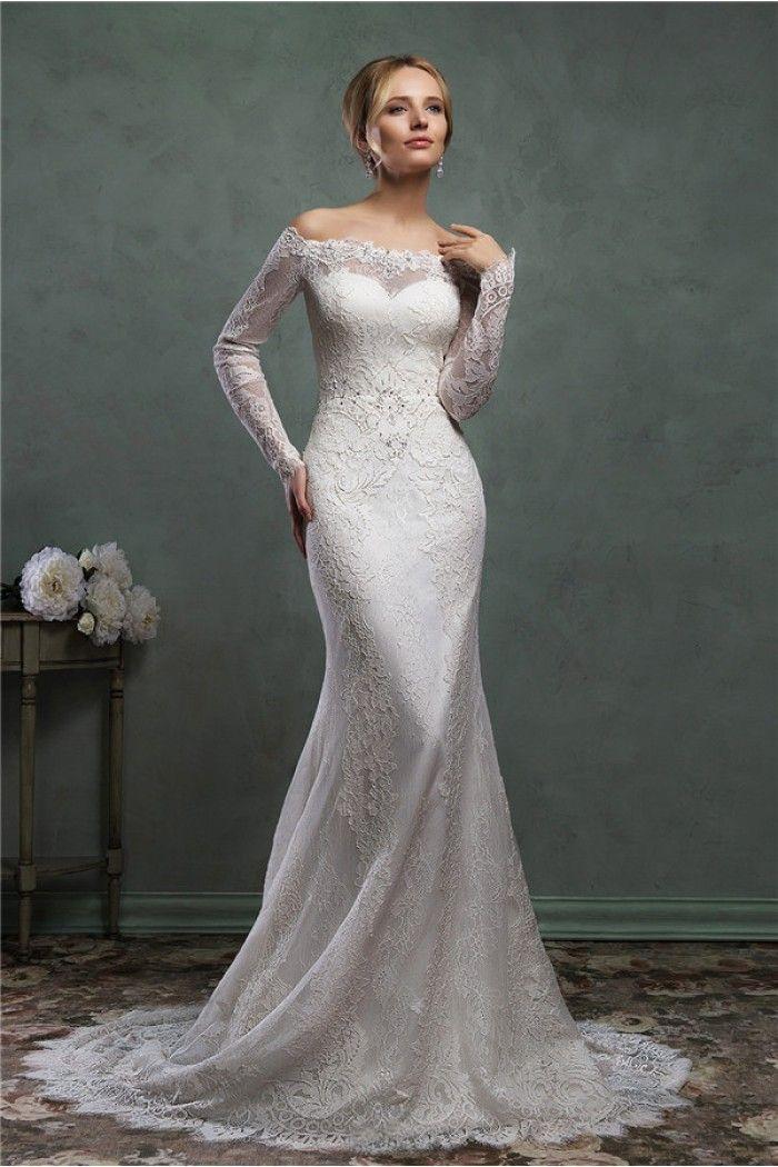 Off shoulder lace sleeve wedding dresses