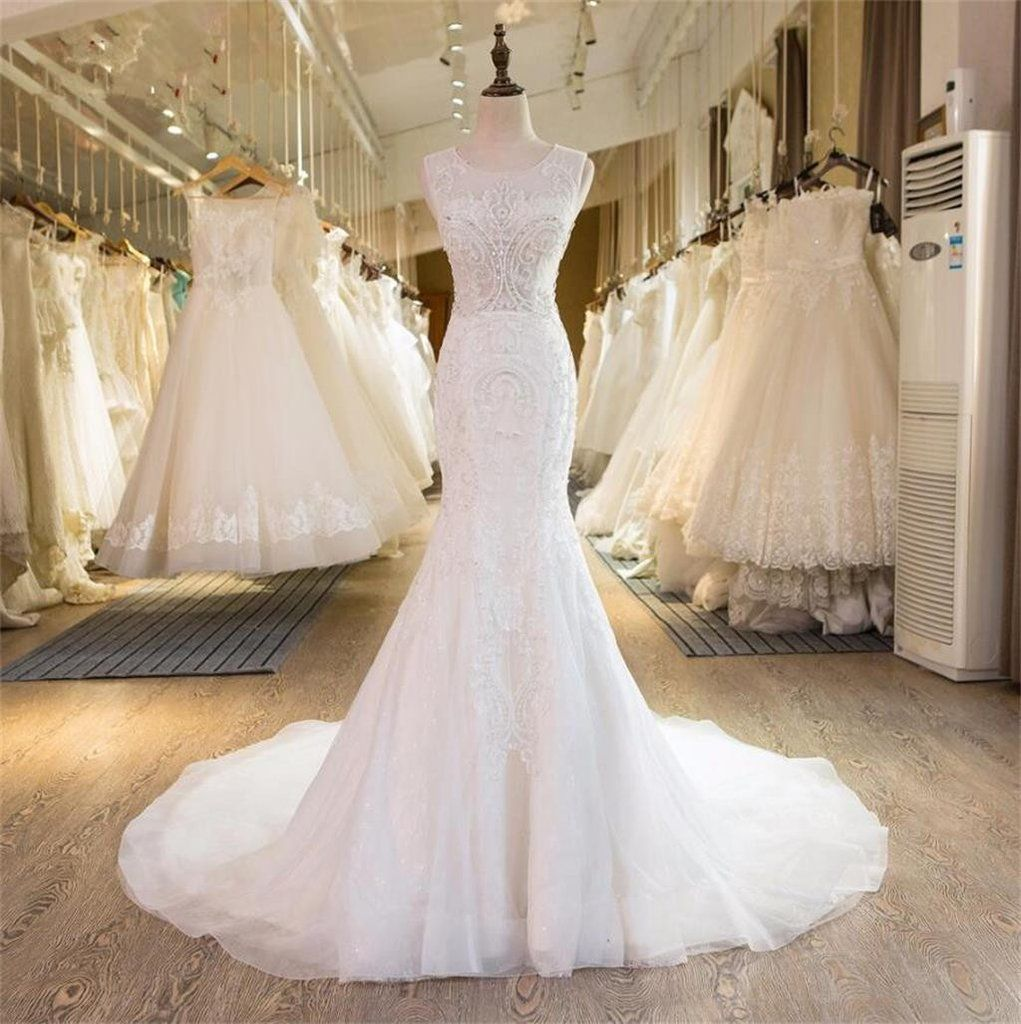 Free wedding dress  Mermaid Elegant Formal New Design Beading Handmade Pretty Free