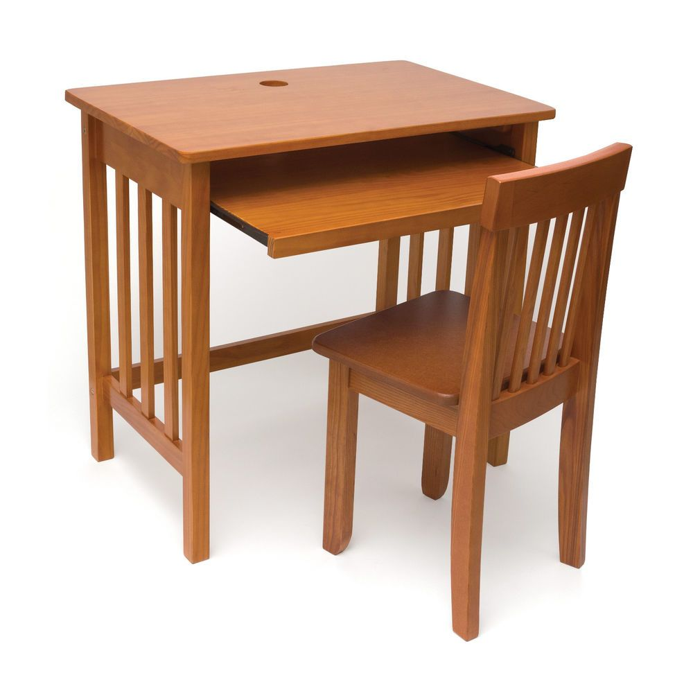 Kids Computer Desk Chair Set Laptop Wood Home Study Bedroom Workstation Pecan Childrens Desk And Chair Desk And Chair Set Computer Desk Chair