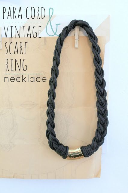 Para Cord and Vintage Scarf Ring Necklace - Whipperberry diy