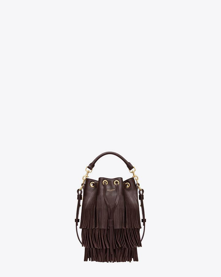 7919ffbbf Saint Laurent SMALL EMMANUELLE Fringed BUCKET BAG IN Bordeaux LEATHER -  ysl.com