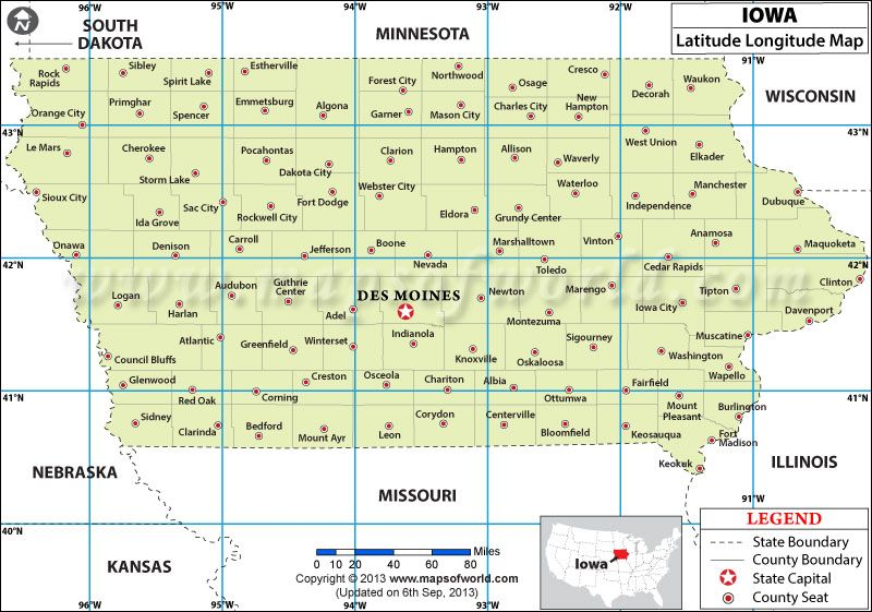 Iowa Latitude And Longitude Map Games Maps Geography - Us map with latitude lines