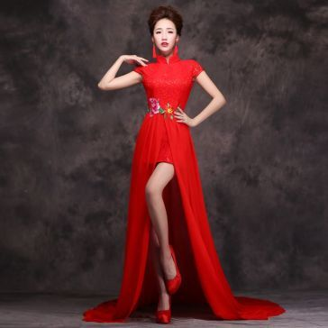 Asian-inspired-embroidered-florl-mandarin-collar-cap-sleeve-red-lace ...