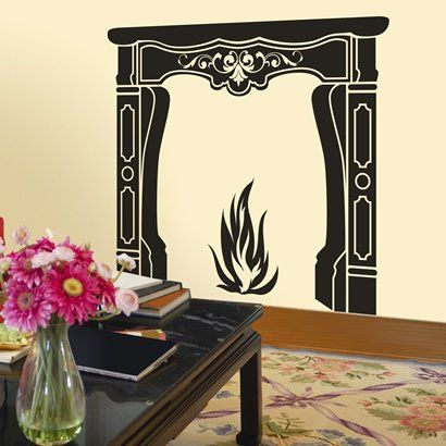 Debating On Putting This In My Living Room.... $30 Fireplace Wall Decal
