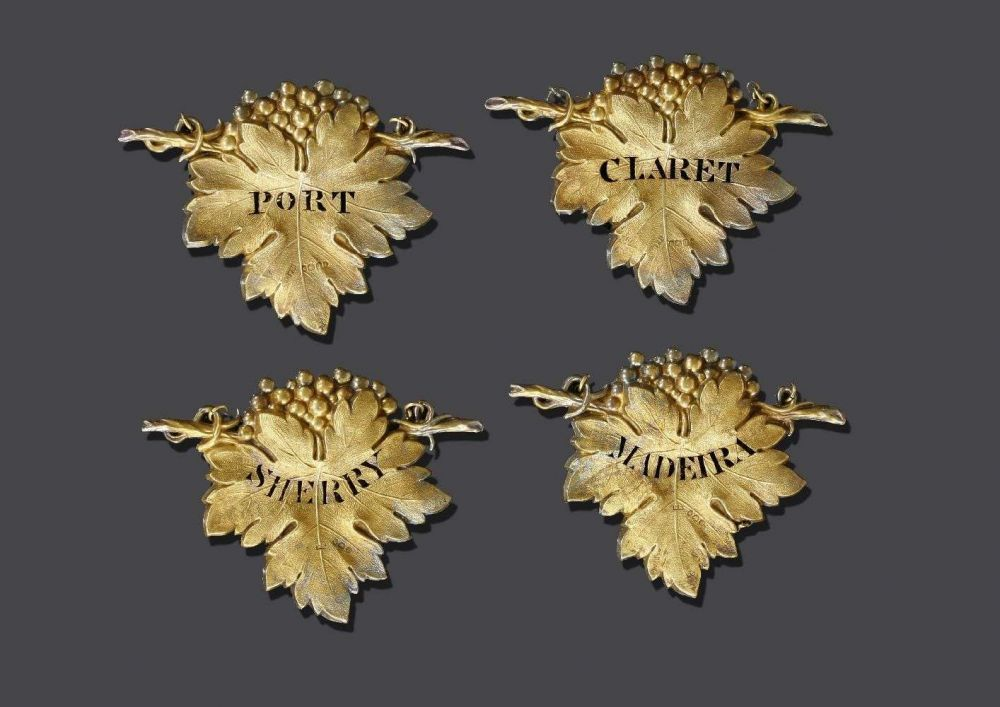Two pairs of matched silver gilt wine labels,two by Francis Higgins, London 1838,pierced for 'Port'