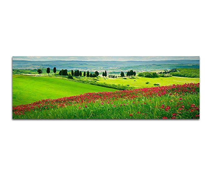 Wandbild 150x50cm Toskana Blumenwiese Zypressen Landschaft:   Bilder Natur  Landschaft Bild Picture Bilderwand Ideen Bilderwand Wohnzimmer Ideen Biu2026