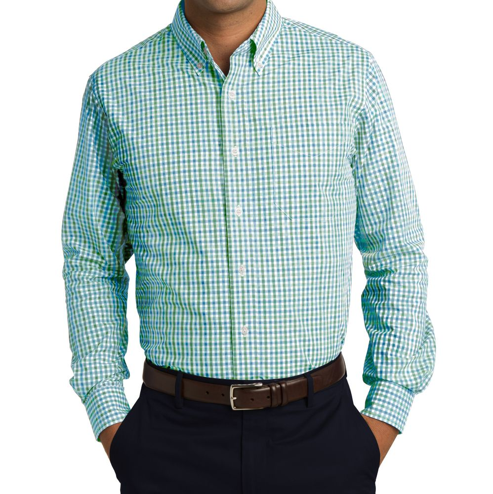 sage green gingham men's shirts | Image of Men's Long Sleeve