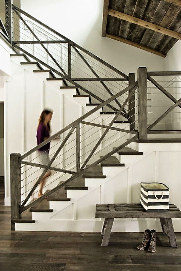Best Rustic And Modern Staircase Farmhouse Stairs House 640 x 480