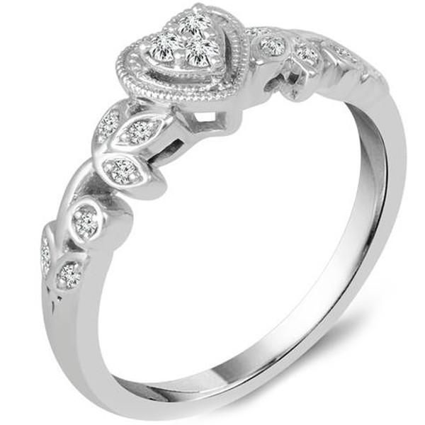 Heart Shape Diamond Promise Ring Featuring 1/8 Carats ...
