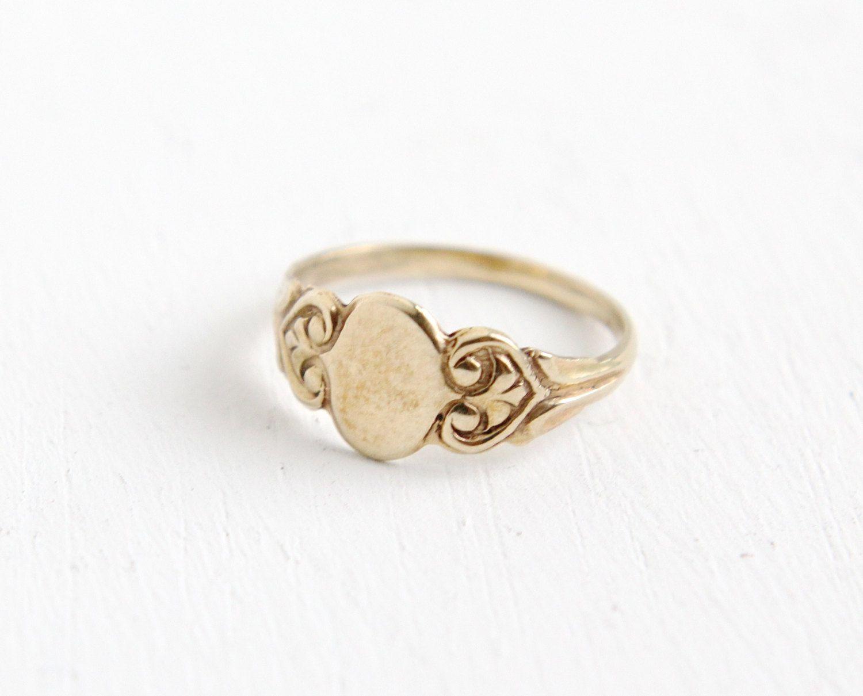 Antique Art Deco 10k Rose Gold Blank Signet Ring by MaejeanVintage