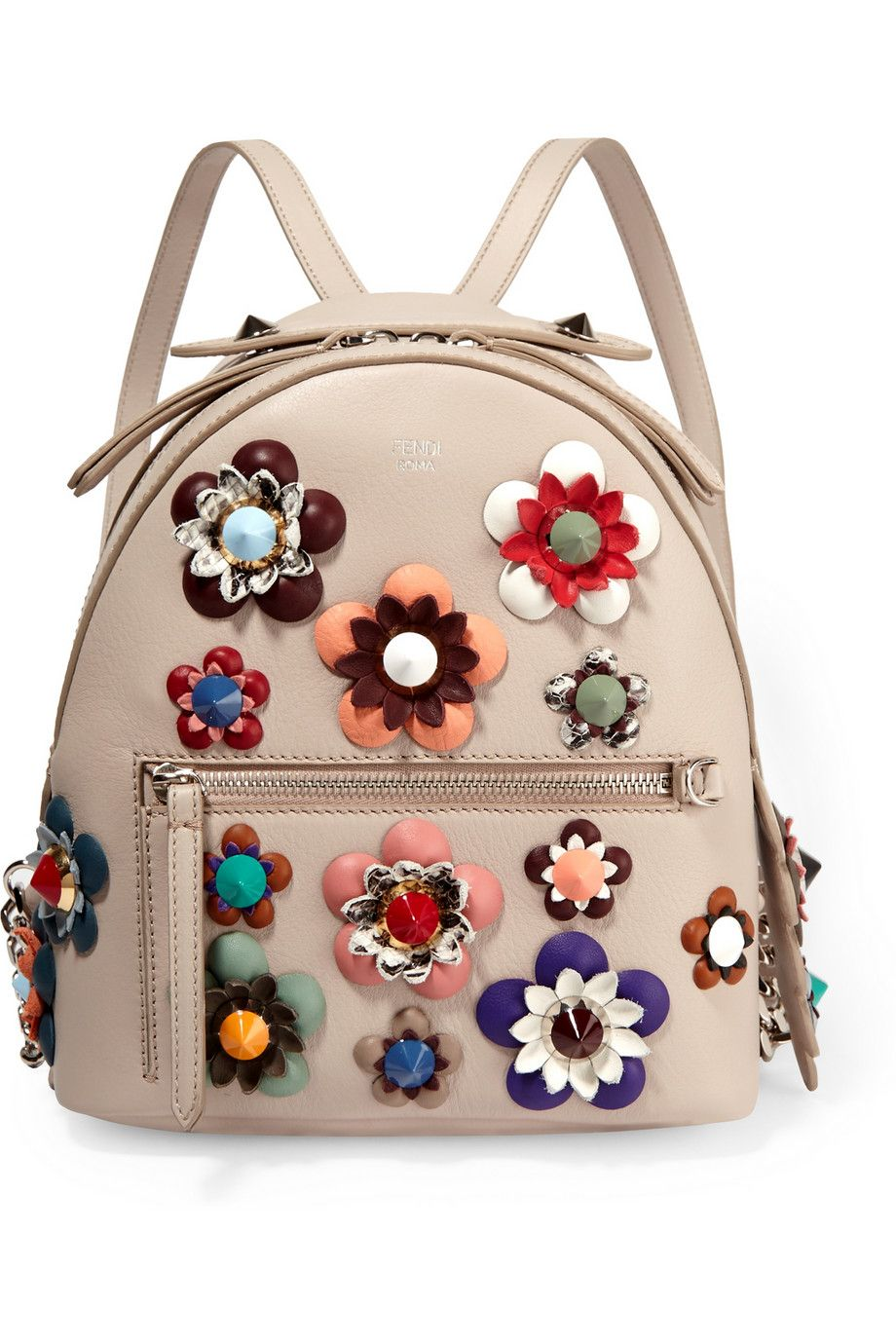 26fade3ba827 Fendi - Zaino floral-appliquéd leather backpack