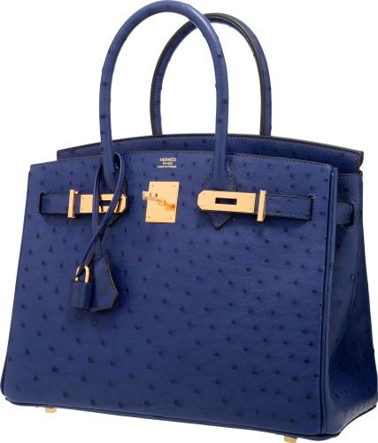 98b36c3003b Hermes 30cm Blue Iris Ostrich Birkin Bag with Gold Hardware ...