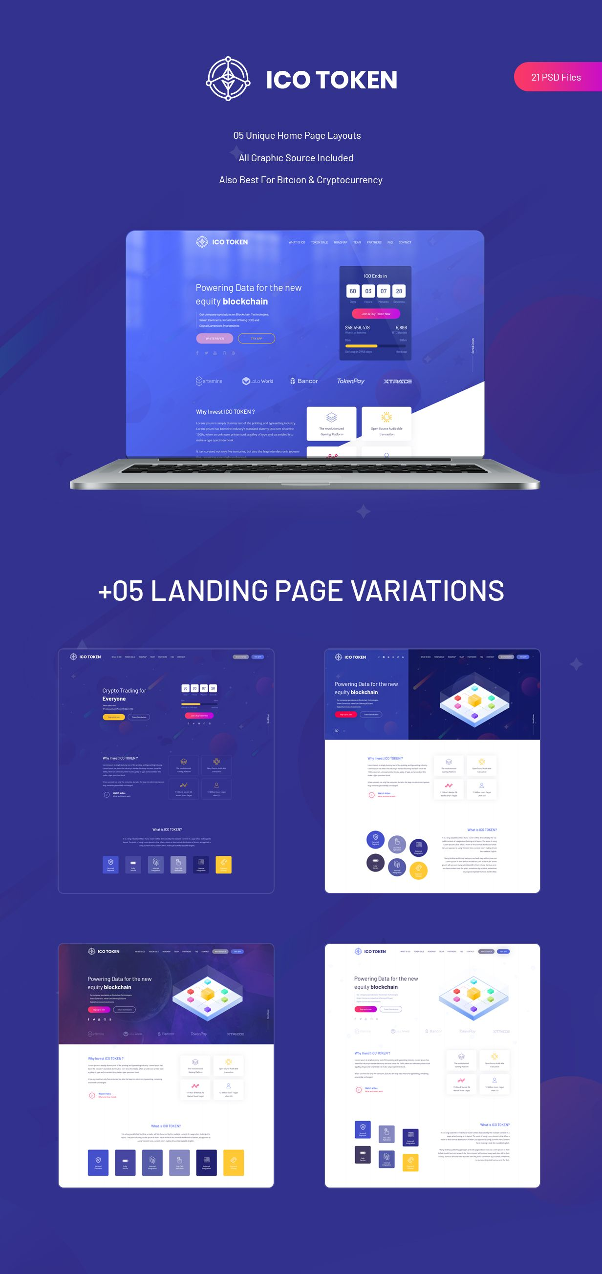 ICO TOKEN Bitcoin & Cryptocurrency PSD Template