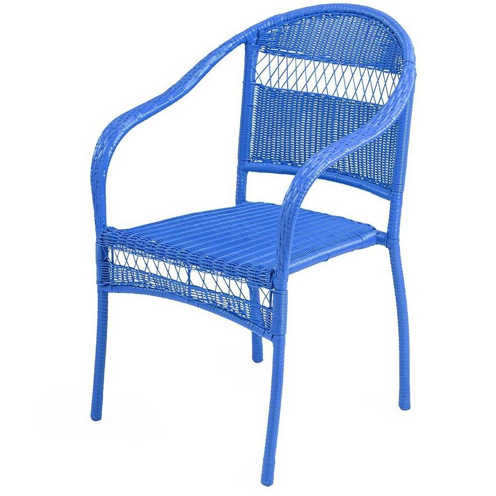 Amazing Colorful Tangier Wicker Stacking Chair Blue Plow Hearth Machost Co Dining Chair Design Ideas Machostcouk