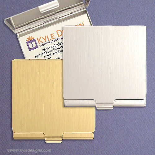 engraved square business card cases silver or gold metal card holders - Square Business Card Holder
