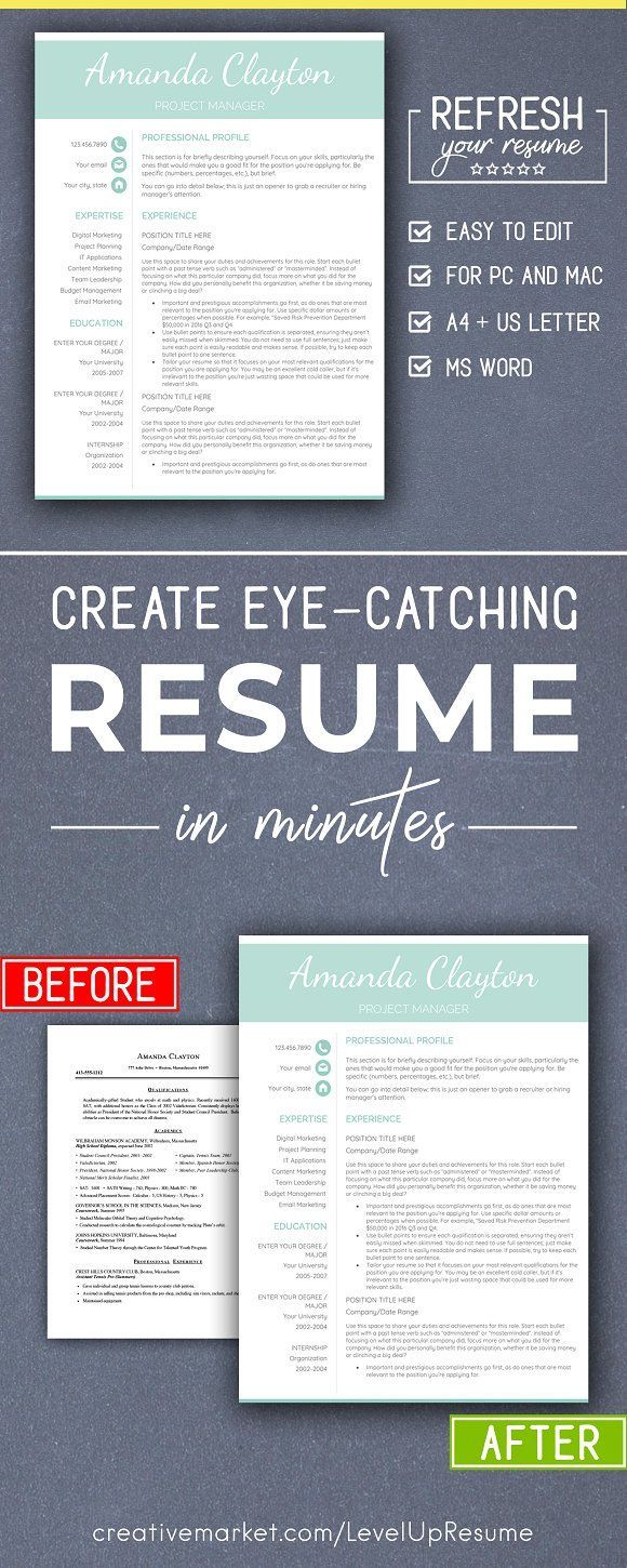 Eye Catching Resume Templates Minimalist Resume Template Pc & Mac Creativework247  Resume