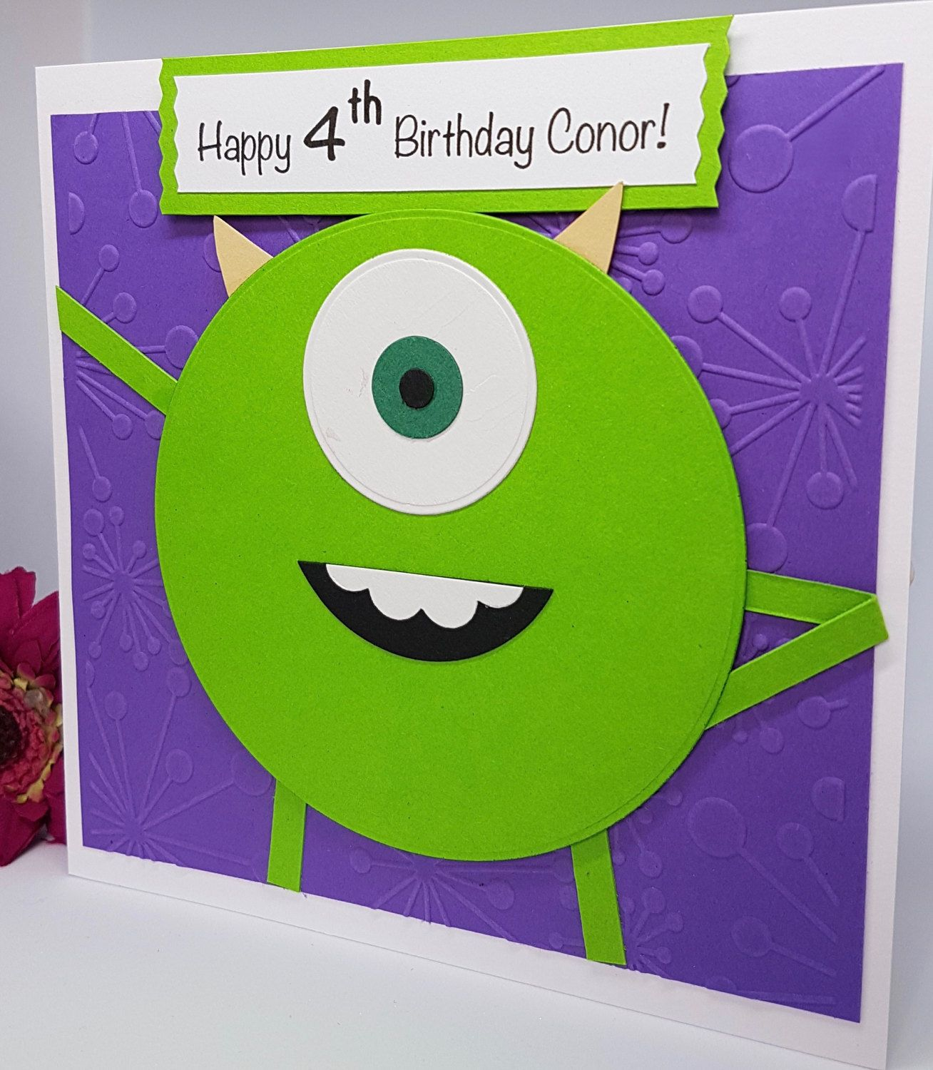 Personalised Mike Wazowski Monsters Inc Character Birthday Card Handmade Bd51 By Brightcraftbysharon On Etsy Kids Cards Happy Birthday Cards Special Cards