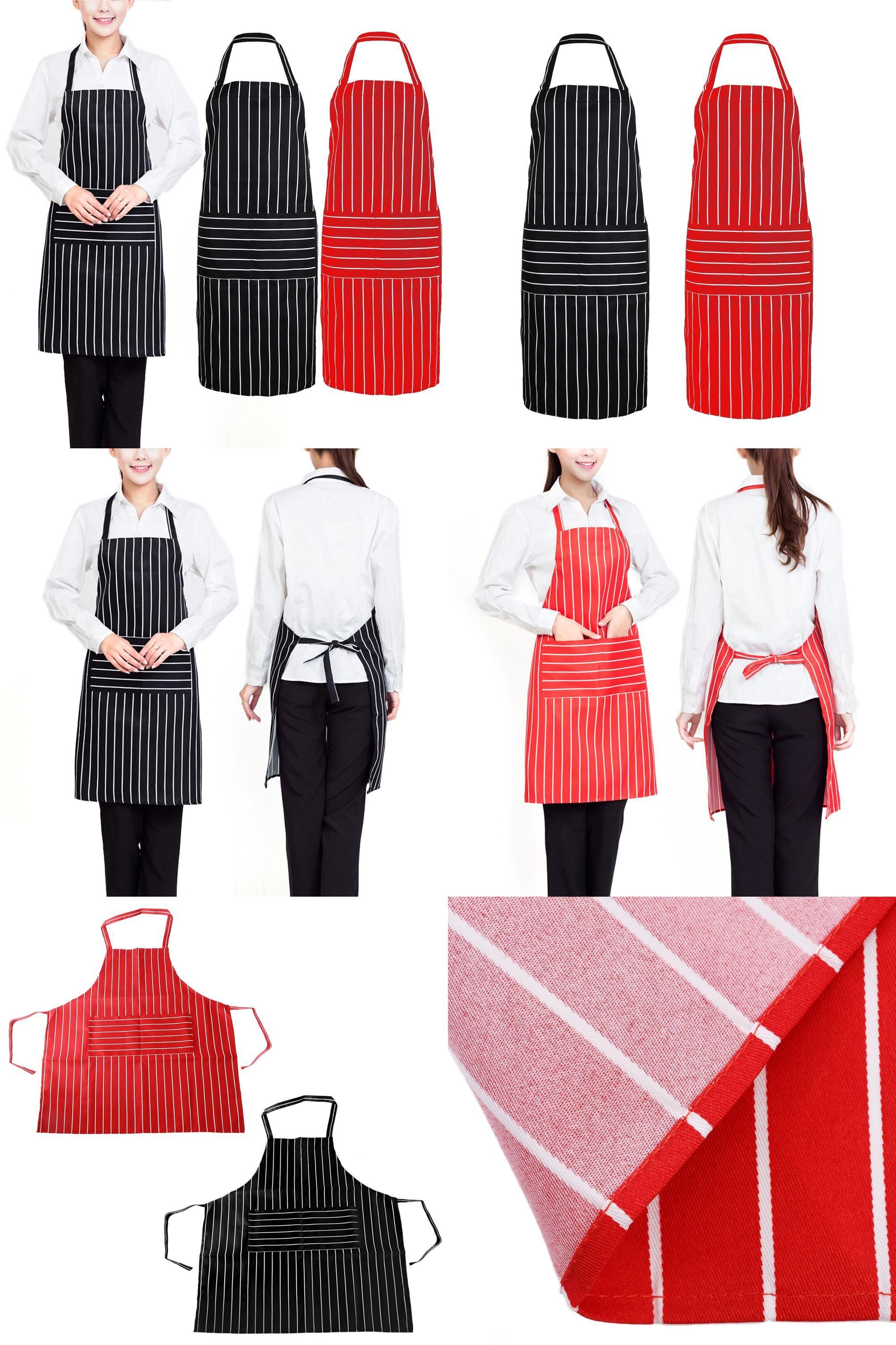 [Visit to Buy] Plain Stripe Creative Stripe Kitchen Apron for Women Men Useful Cooking Apron Grid Adjustable Chef apron Cloth Accessories #Advertisement