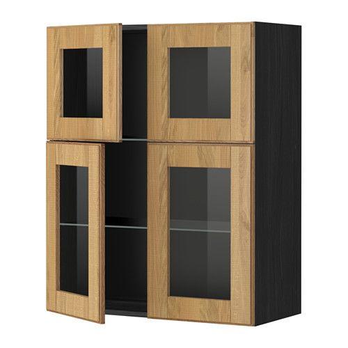 METOD Él mur+tblts 4p vit, noir, Hyttan chêne - Hauteur Plan De Travail Cuisine Ikea