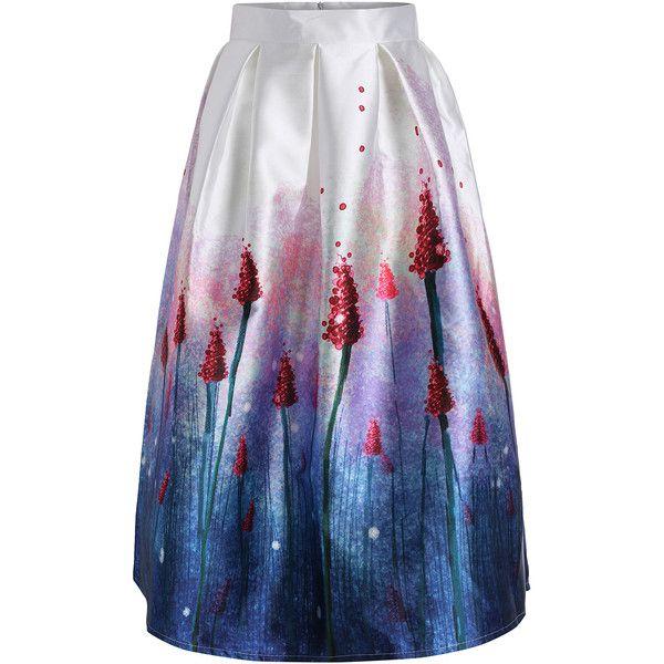 SheIn(sheinside) Purple High Waist Lavender Print Skirt (200 SEK) ❤ liked on Polyvore featuring skirts, multi, high waisted flare skirt, long flare skirt, flare skirt, flared maxi skirt and flared skirt