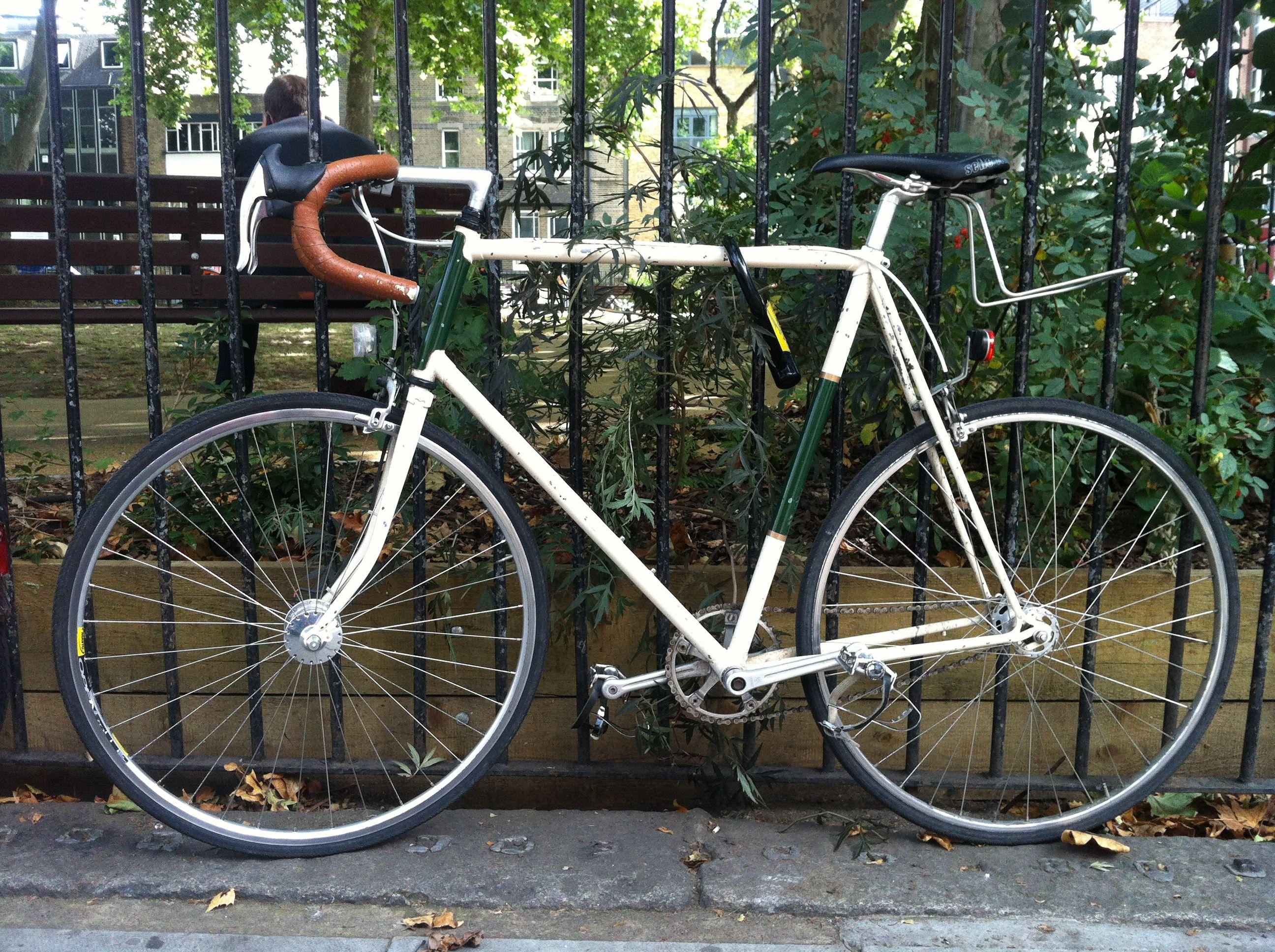 white and green bike, london