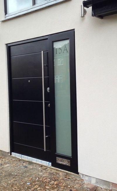 Black Modern Front Door With Obscure Glazing Side Panel Security Door Modern Door Modern Garage Doors