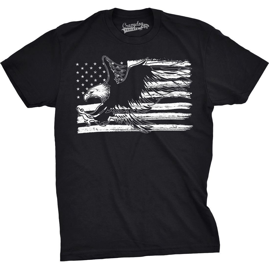 Eagle Over Grunge Flag Men S Tshirt Novelty Shirts Mens Tshirts