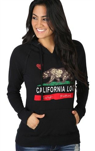01723a3ebc1 Deb Shops Long Sleeve French Terry Hoodie with California Love Screen  20.17