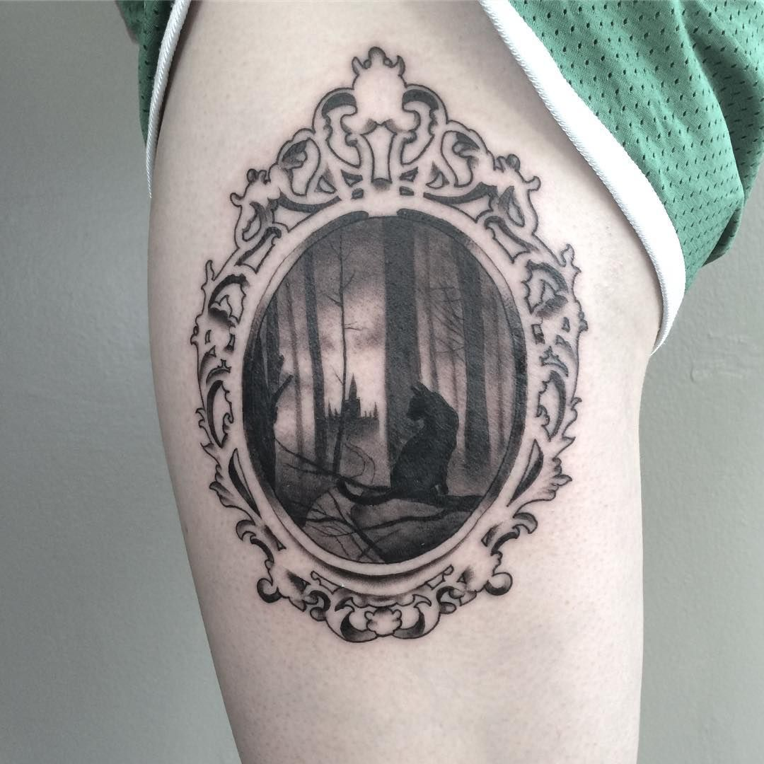 Tattoo Victorian Hand Mirror Frame With Black Cat Haunted Forest Scene Thanks As Always To Hayden S Mirror Tattoos Victorian Tattoo Victorian Frame Tattoos