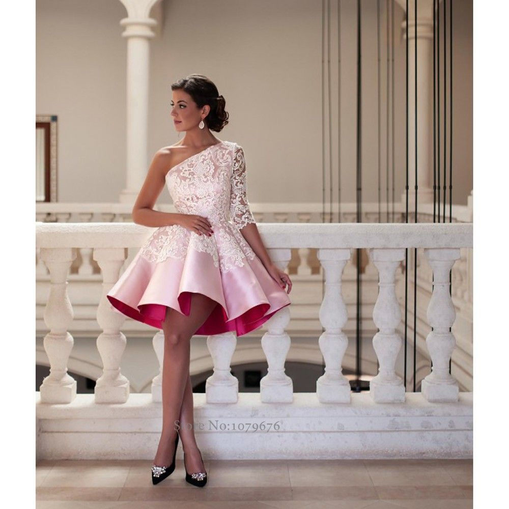 2016 novo estilo de um ombro rosa vestidos de coquetel elegante mulheres curto Prom vestido de baile Lace vestidos de festa vestido de noite F491 em Vestidos de Baile de Estudantes de Casamentos e Eventos no AliExpress.com   Alibaba Group