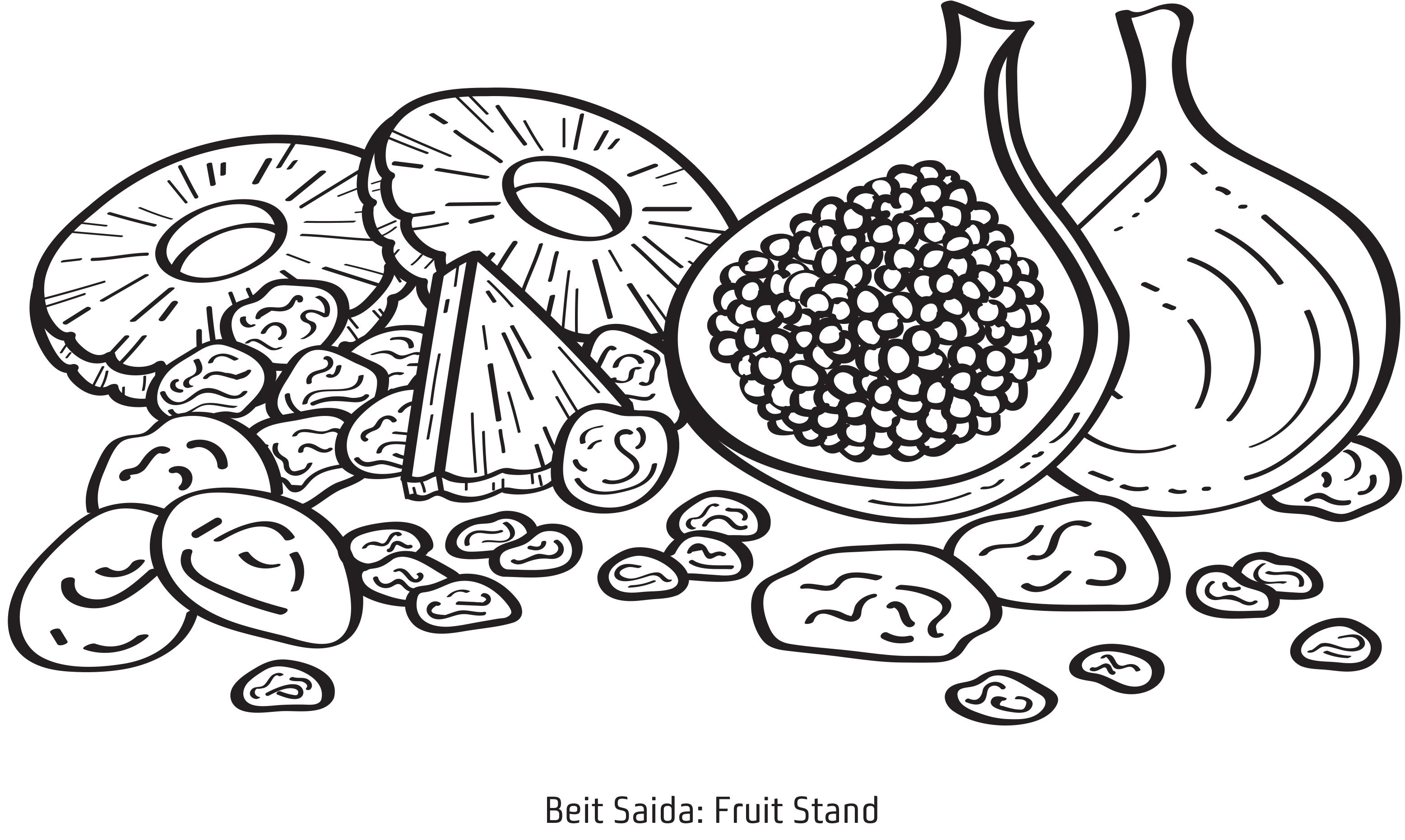 Beit Saida Fruit Stand Coloring Page