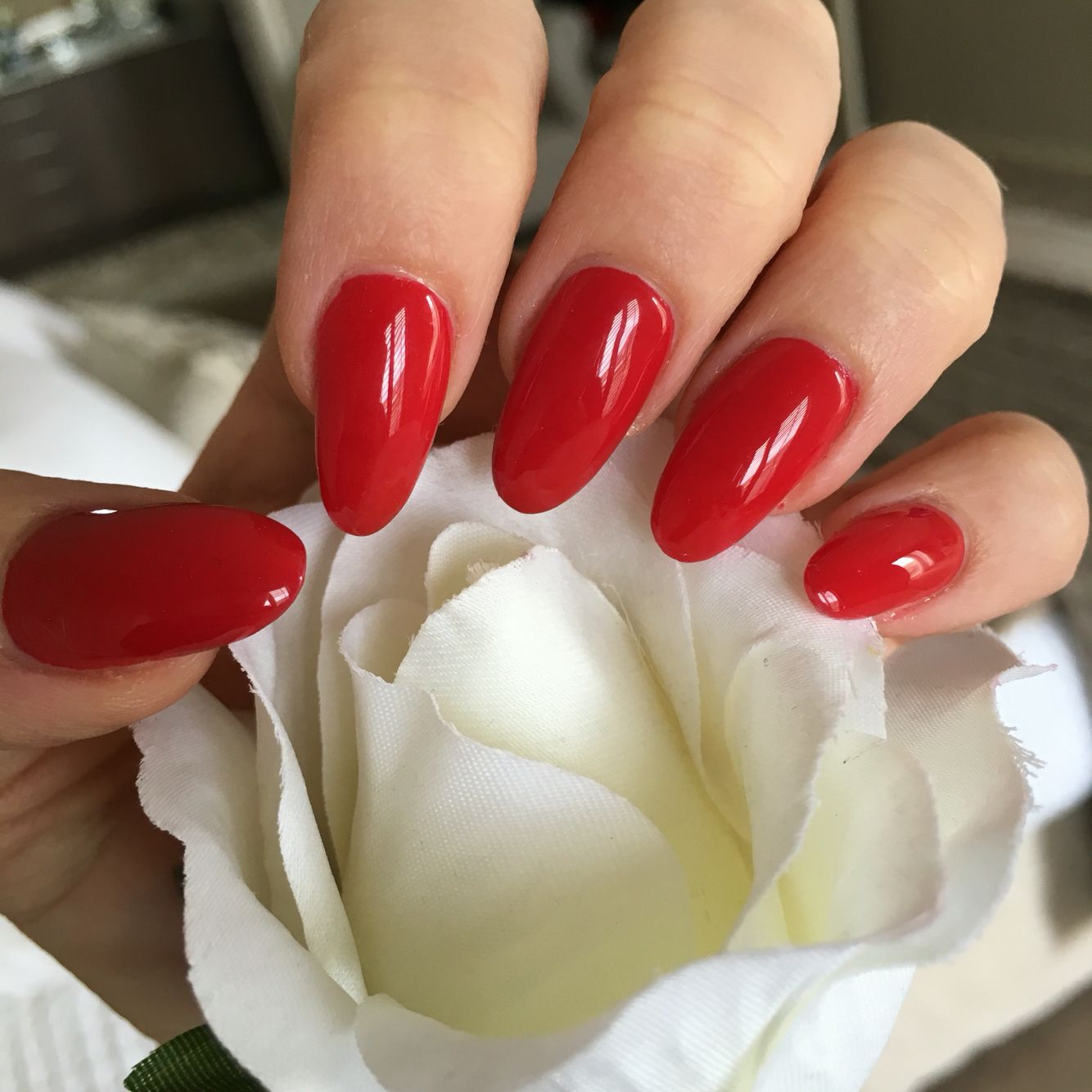 Red acrylic, gel / shellac, chic, almond shape nails ...