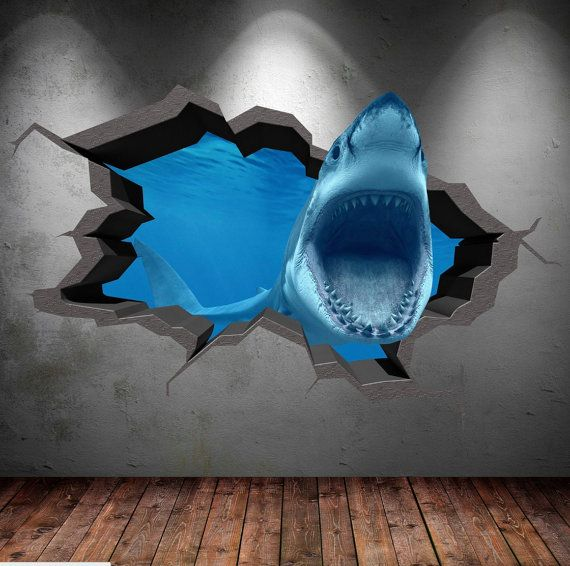 Shark Wall Art shark 3d cracked sea cave hole full colour wall art sticker decal
