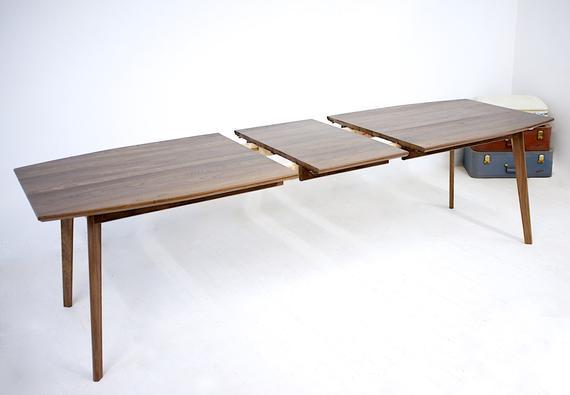 Extendable Modern Walnut Dining Table Mid Century Modern Dining