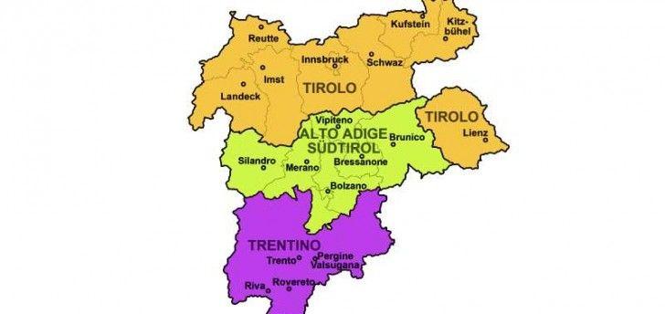 Province Trentino Alto Adige Cartina.Cartina Trentino Alto Adige Tirolo Alto Adige Alto Tirolo