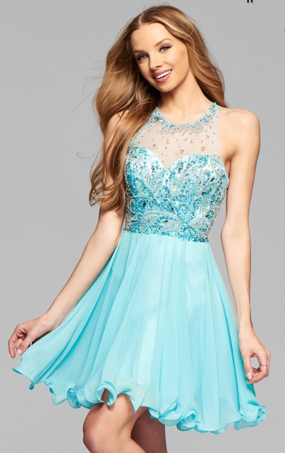 New Sky Blue Homecoming Dresses Short Prom Dresses Beaded High ...