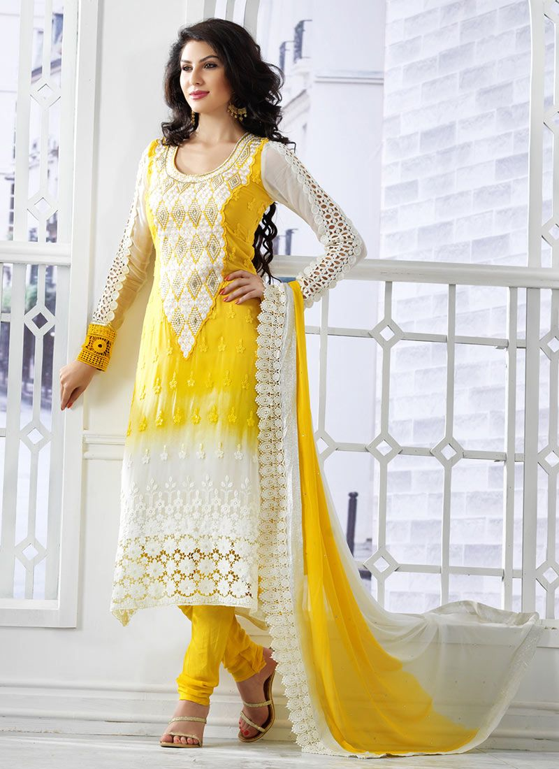 Cheery yellow georgette churidar suit fashion pinterest