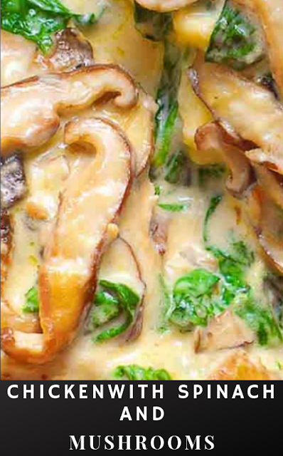 Chicken with Spinach and Mushrooms in Creamy Parmesan Sauce #healthyfood images