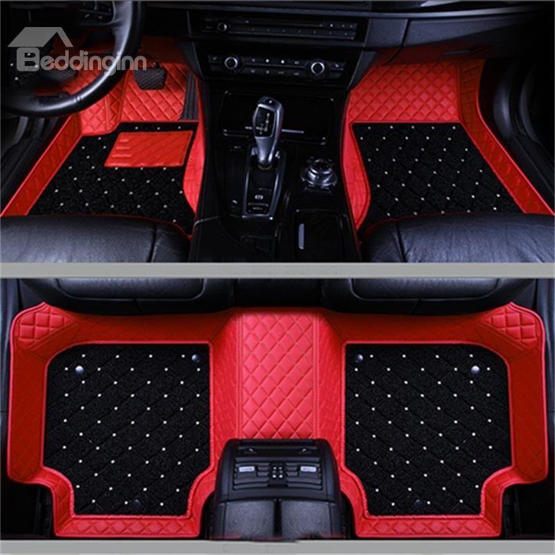 Double Layer Fabric Grid Line Inlaid Diamonds Design Durable Custom Fit Car Floor Mats Custom Car Interior Car Floor Mats Fit Car