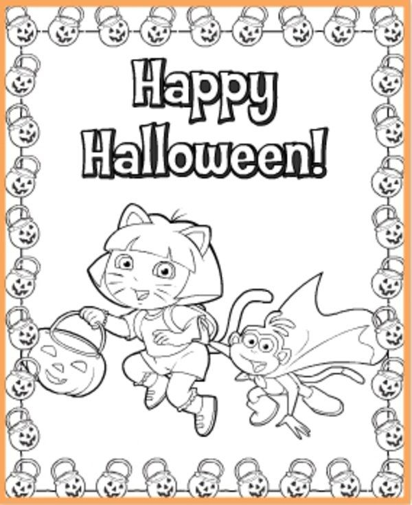 Dora The Explorer Halloween Coloring Pages Picture 4 550x673