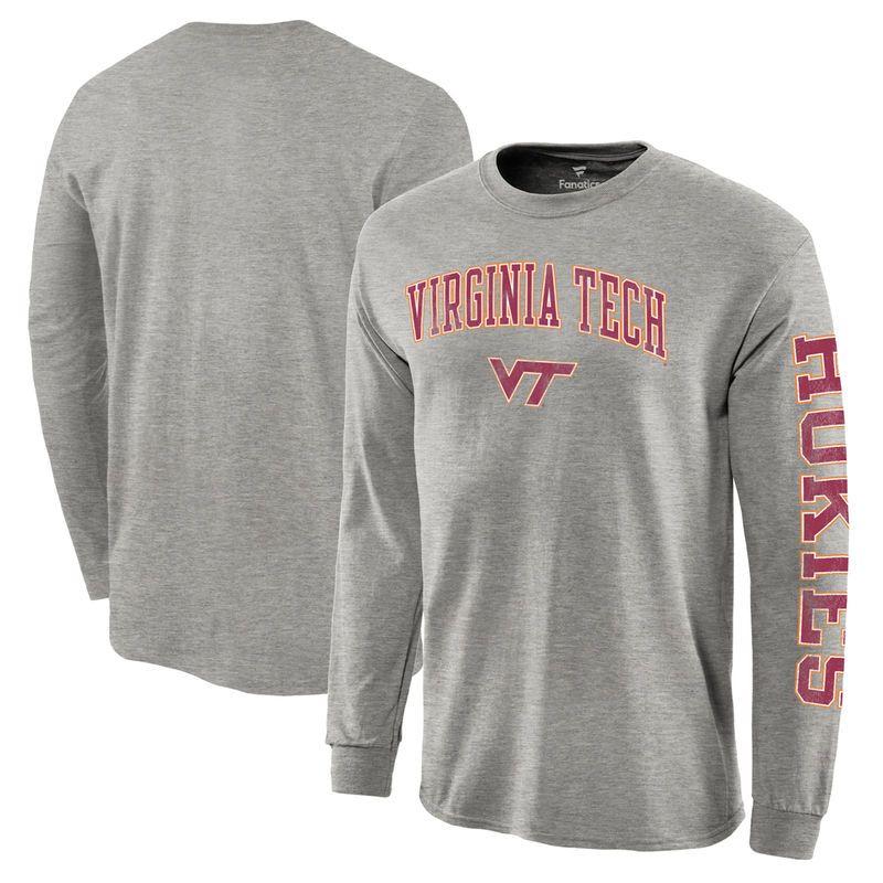 Virginia Tech Hokies Fanatics Branded Distressed Arch Over Logo Long Sleeve Hit T-Shirt - Gray