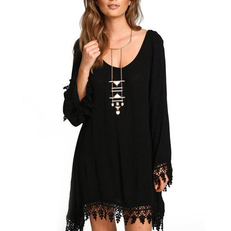 Black fringe casual bohemian dress black long sleeve