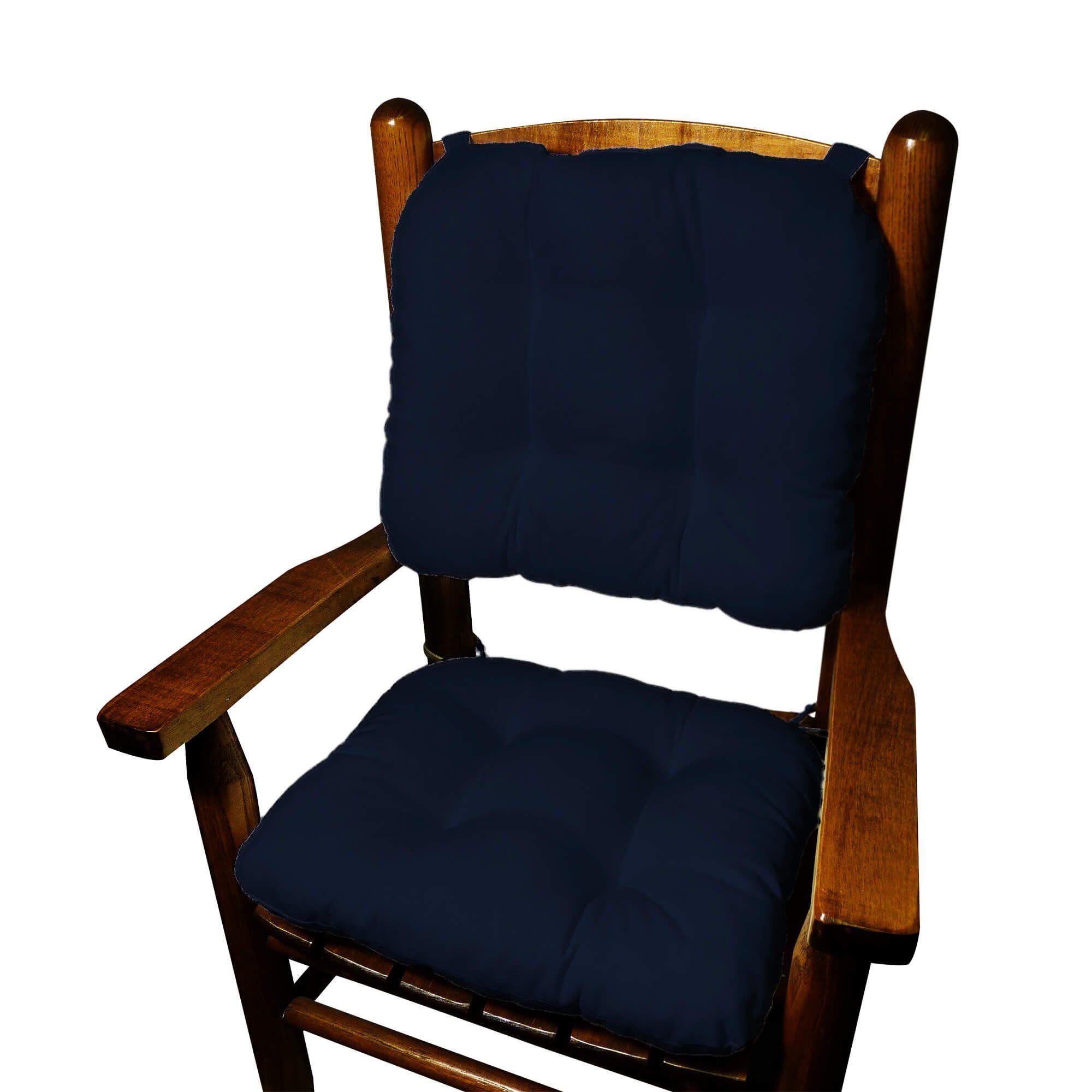 Child rocking chair cushions cotton duck navy blue