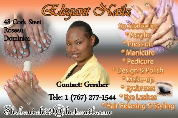 Elegant Nails Located: 48 Cock Street call up and book an appointment Today!!! 1(767)277-1544 10%off on number of visits  become a member and save www.Thepowerof8.net