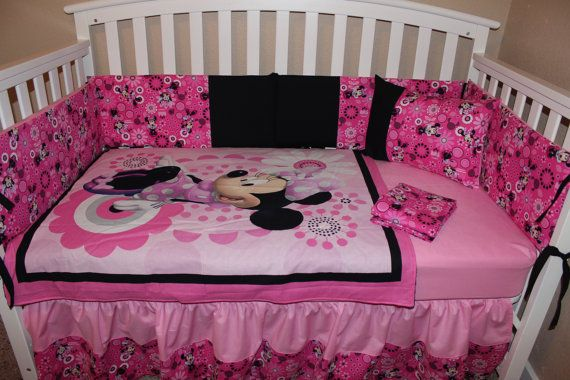 Crib Bedding Set Pink And Black Minnie Mouse 5 Piece Disney