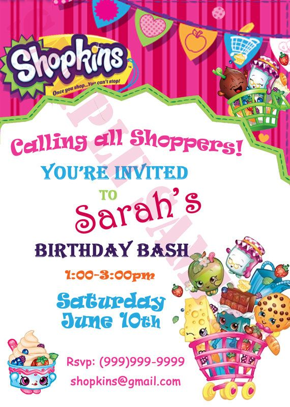 SHOPKINS PARTY INVITATIONS PACK OF 8 BIRTHDAY PARTY INVITATIONS